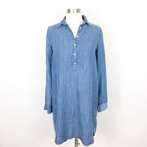 loft | chambray soft wash popover dress light wash